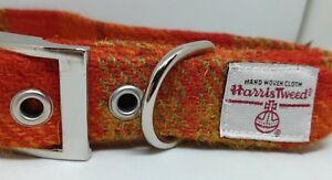 Dog Collar - Orange check Harris Tweed matching Leads Various sizes FREE P&P