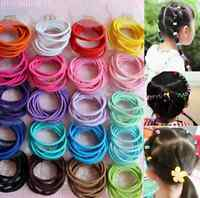lots 100Pcs Elastic Hair Bands  Baby Kids Girl Ponytail Holder Head Rope Ties