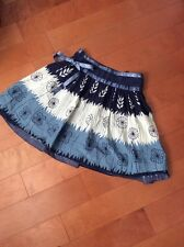 Fa Caj Womens M above Knee Length Skirt Blue Off White Lined Side Zip And Bow