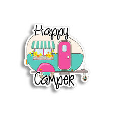 "4"" Happy Camper Sticker Rv Trailer Retro Laptop Car Vehicle Window Bumper Decal"