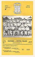 Watford v Crystal Palace - Div 3 - 3/10/1961 - Football Programme