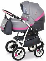 Eco New Baby Pram Buggy 3in1 Stroller Pushchair Car Seat Carrycot Travel System