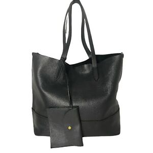 J. Crew - Black Pebble Leather Carryall Large Tote with Pouch - Shoulder Bag