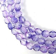 50 Firepolish Czech Glass Faceted Round Beads - Coated Ultraviolet 4mm