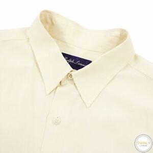Ralph Lauren Purple Label Cream 100% Silk Italy Slubby Dress Shirt XL
