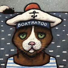 Tableau Portrait Chat Matelot Marin Tourrier