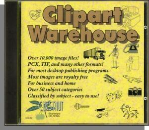 Clipart Warehouse (1994) - New CD-ROM! 10,000 Images in PCX, TIF & More!