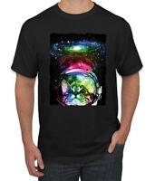 Trippy Neon Space Astronaut Lunar Cat Mens Graphic T-Shirt