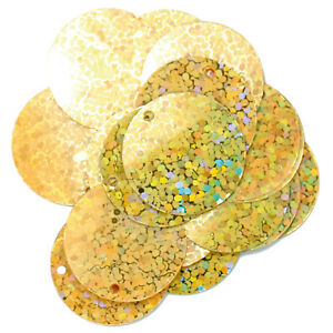 5x Sequins Flat Holographic 20mm Gold Sewing Craft Tool Hobby Art UK