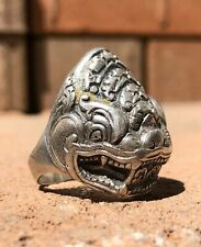 Antique Old Chinese Export Silver Deeply Carved Repousse Dragon Ring