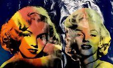 Marilyn Blue DOUBLE by Steve Kaufman Painting 24x44 4/10 TP SAK