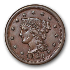 1848 Braided Hair Large Cent About Uncirculated AU Newcomb 40 N US Coin #7436