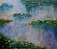 Quality Hand Painted Oil Painting Repro Claude Monet Water Lilies 4, 20x24in