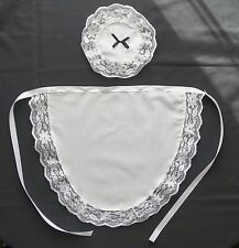 VICTORIAN SEXY FRENCH MAID WHITE WAITRESS APRON & HEADPIECE  & long waist