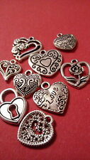 20 MIXED TIBETAN SILVER  PLATED HEART PENDANT CHARMS  10 DESIGNS