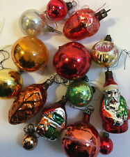 Collection of 14 Vintage Glass Christmas Baubles - Spheres and Retro Santa