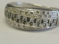 STERLING SILVER WHITE AND BLACK DIAMONDS BAND SIZE 7