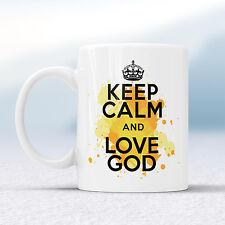 Keep Calm and Love Dio Splash TAZZA REGALO religioso chiesa di Gesù pregare COPPA presenti