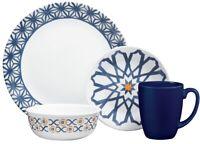 Corelle Signature Amalfi Blue 16-Piece  Dinnerware Service Set for 4 2DAY SHIP