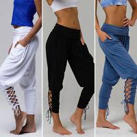 Women High Waist Casual Tapered Pants Legging Elastic Bandage Solid Yoga Trouser