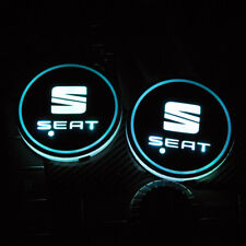 2PCS LED Car Cup Holder Pad Mat for SEAT Auto Atmosphere Lights Xmas Gift