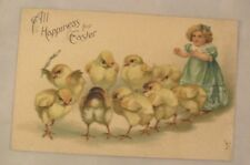 1911 Embossed Easter Postcard - Young Girl With Chicks In A Circle