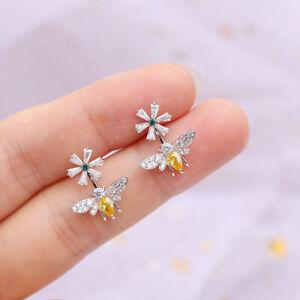 Hot S925 Sterling Silver Daisy Flower Bee Earrings Zircon Creative Stud Earring