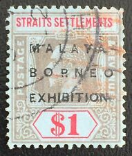 MALAYA 1922 MBE opt Straits Settlements KGV $1 MSCA USED SG#255 with fault M2408