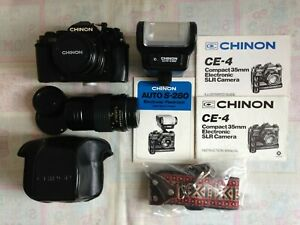 CHINON CE-4 35mm SLR Camera, 2 Lenses, Flash, Leather Case  Strap Instructions