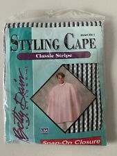 Betty Dain Vintage Styling Cape Black & White Stripe Snap On Closure NEW