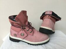 LADIES PINK LEATHER TIMBERLAND 19933M ROLL TOP BOOTS, UK 4 (EUR 36.5)