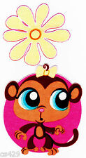 "4.5"" LITTLEST PET SHOP MONKEY  FLOWER CHARACTER  FABRIC APPLIQUE  IRON ON"