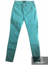 Anthropologie Koral High Waist Skinny Stretch Jeans in Teal Blue Size 28 x 31