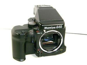 EXCELLENT Mamiya 645 Pro TL w/ AE Prism Finder 220 Film Back Japan