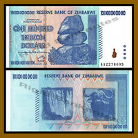 Zimbabwe 100 Trillion Dollars, 2008 P-91 Error on Right Side (White, NO COW) Unc