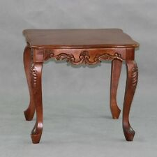 End Table Hand Carved Solid Wood Queen Anne Accent Decor Living Room Furniture