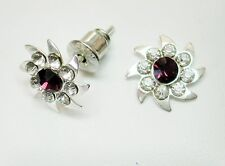 10mm Purple and Clear Crystal & Silver Tone Faceted Stud Earrings