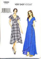VOGUE SEWING PATTERN 9251 MISSES SZ 8-16 FLARED WRAP DRESS, MAXI, TULIP HEMLINE