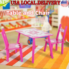 Kids Wood Table and Chairs Play Set Toddler Child Activity Furniture In-Outdoor