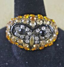 QVC Rare Joan Rivers Pave Crystal Owl Antiqued Goldtone Cocktail Ring 10 $200