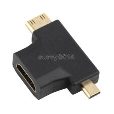 3 in 1 HDMI Female to Mini HDMI Male + Micro HDMI Male Adapter Connector Black