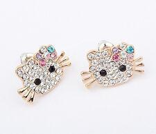 Hello Kitty Gold-Plated Crystal CZ Rhinestones Stud Fashion Earrings New