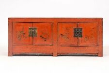 A 19th Century Red Lacquered Chinese Trunk Or Low Chest With Brass Hardware