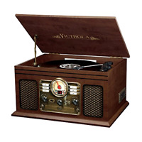 Vinyl LP Vintage Radio CD Cassette MP3 Record Player Bluetooth Turntable, New