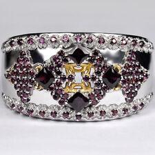 "Sterling Silver 17.60 ct Garnet Gemstone Womens Cuff Bangle Bracelet 7"""