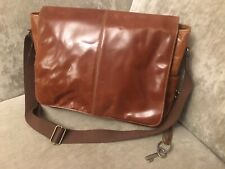 Beautiful Fossil Brand Messenger Bag Real Leather Chestnut Brown