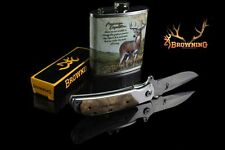 SET BROWNING Pocket Knife Blade Folding Knife Camping Tools +HIP FLASK Deer Inox