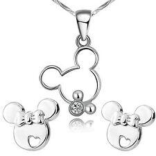 Findout plata esterlina hueco Mickey Mouse Lindo Colgante Collar + Pendientes..