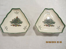 """Vintage China SPODE Christmas Tree England Qty 2 Nut Candy Triangle Dishes 5.5"""""""
