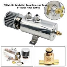 750ML Oil Catch Can Tank AN10 Threaded Reservoir Tank Breather Filter Baffled